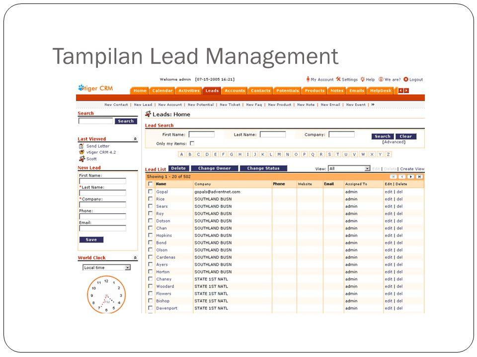 Tampilan Lead Management
