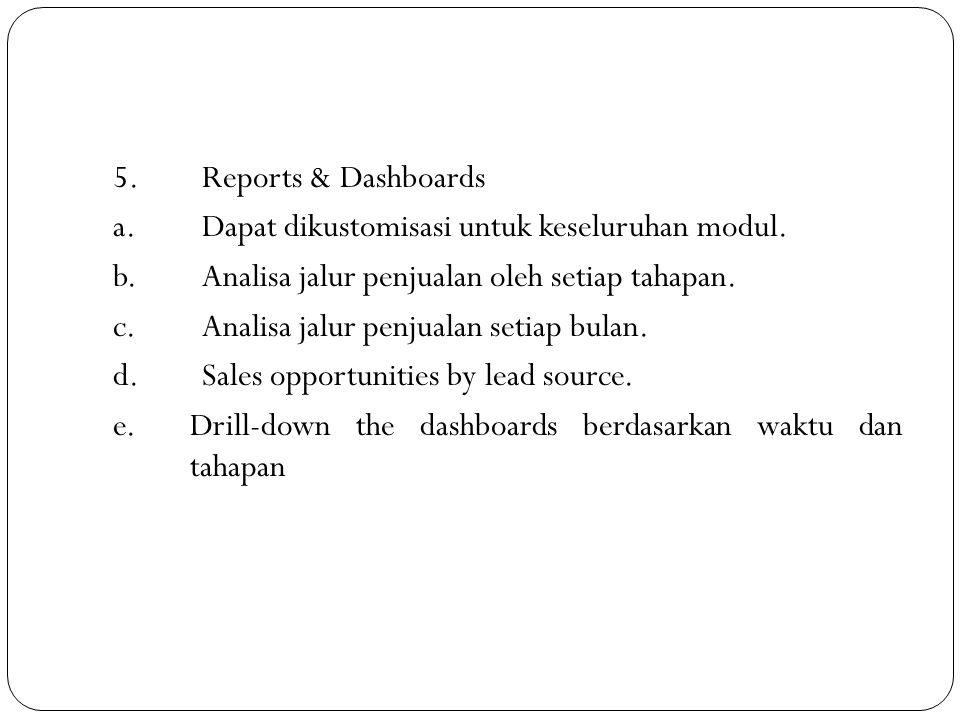 5.Reports & Dashboards a.Dapat dikustomisasi untuk keseluruhan modul. b.Analisa jalur penjualan oleh setiap tahapan. c.Analisa jalur penjualan setiap