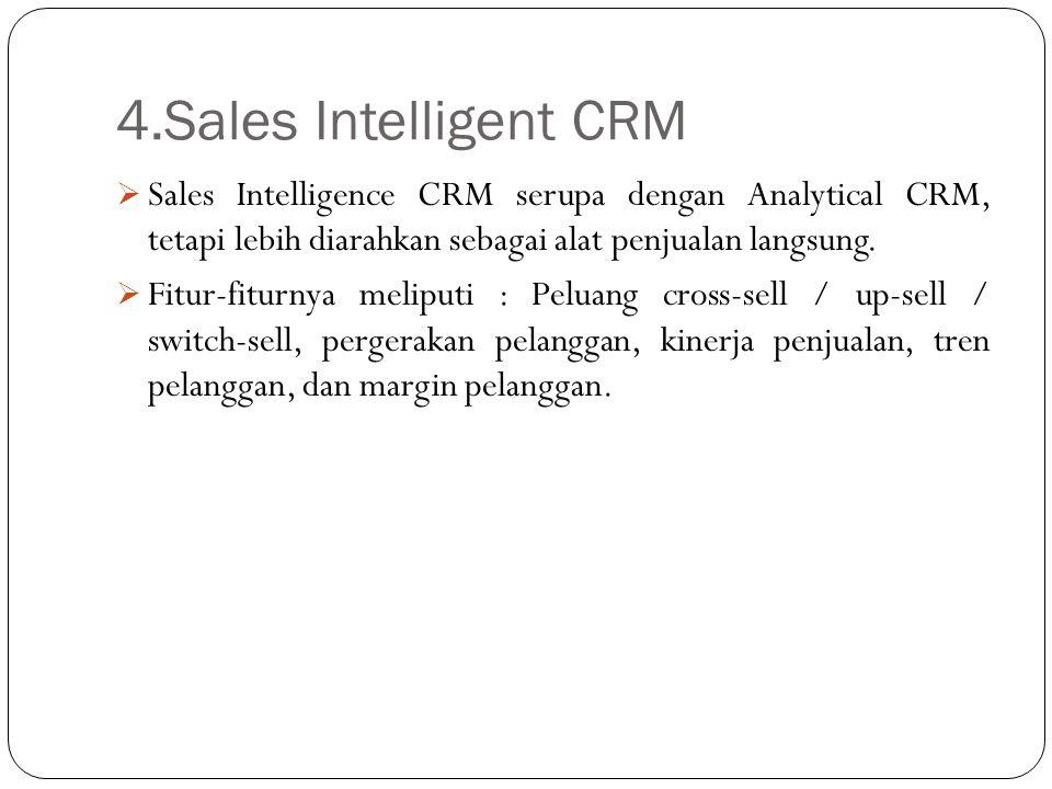 4.Sales Intelligent CRM  Sales Intelligence CRM serupa dengan Analytical CRM, tetapi lebih diarahkan sebagai alat penjualan langsung.  Fitur-fiturny