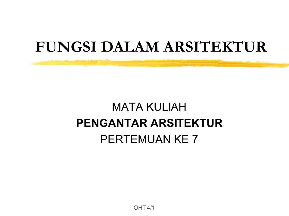 OHT 4/1 FUNGSI DALAM ARSITEKTUR MATA KULIAH PENGANTAR ARSITEKTUR PERTEMUAN KE 7
