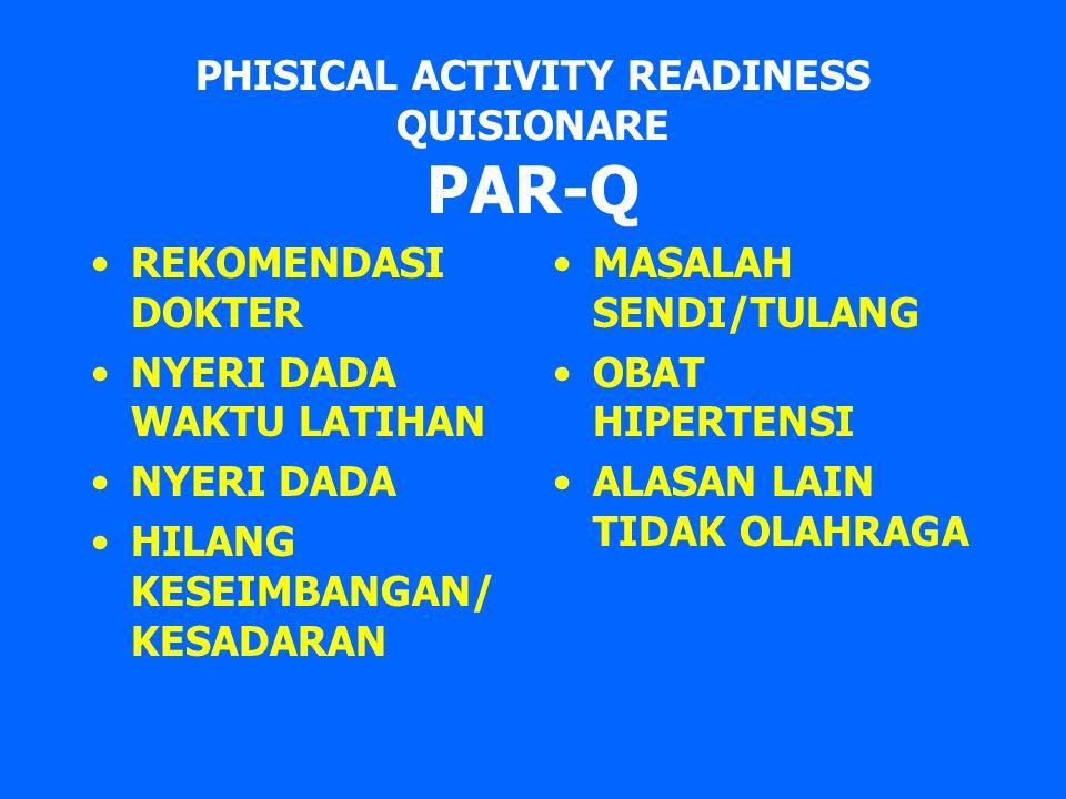 PHISICAL ACTIVITY READINESS QUISIONARE PAR-Q REKOMENDASI DOKTER NYERI DADA WAKTU LATIHAN NYERI DADA HILANG KESEIMBANGAN/ KESADARAN MASALAH SENDI/TULAN