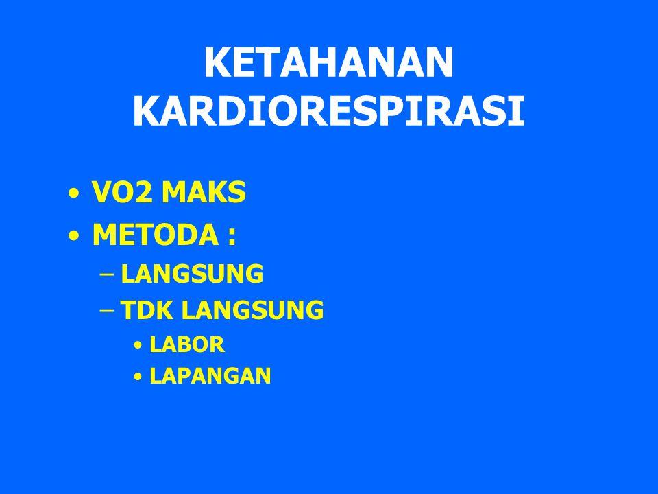 KETAHANAN KARDIORESPIRASI VO2 MAKS METODA : –LANGSUNG –TDK LANGSUNG LABOR LAPANGAN