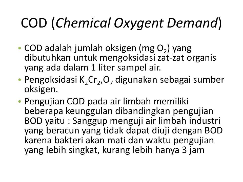 COD (Chemical Oxygent Demand) COD adalah jumlah oksigen (mg O 2 ) yang dibutuhkan untuk mengoksidasi zat-zat organis yang ada dalam 1 liter sampel air