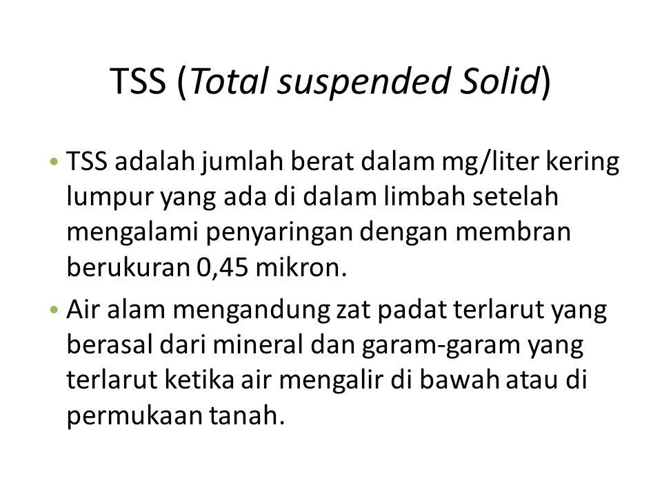 TSS (Total suspended Solid) TSS adalah jumlah berat dalam mg/liter kering lumpur yang ada di dalam limbah setelah mengalami penyaringan dengan membran