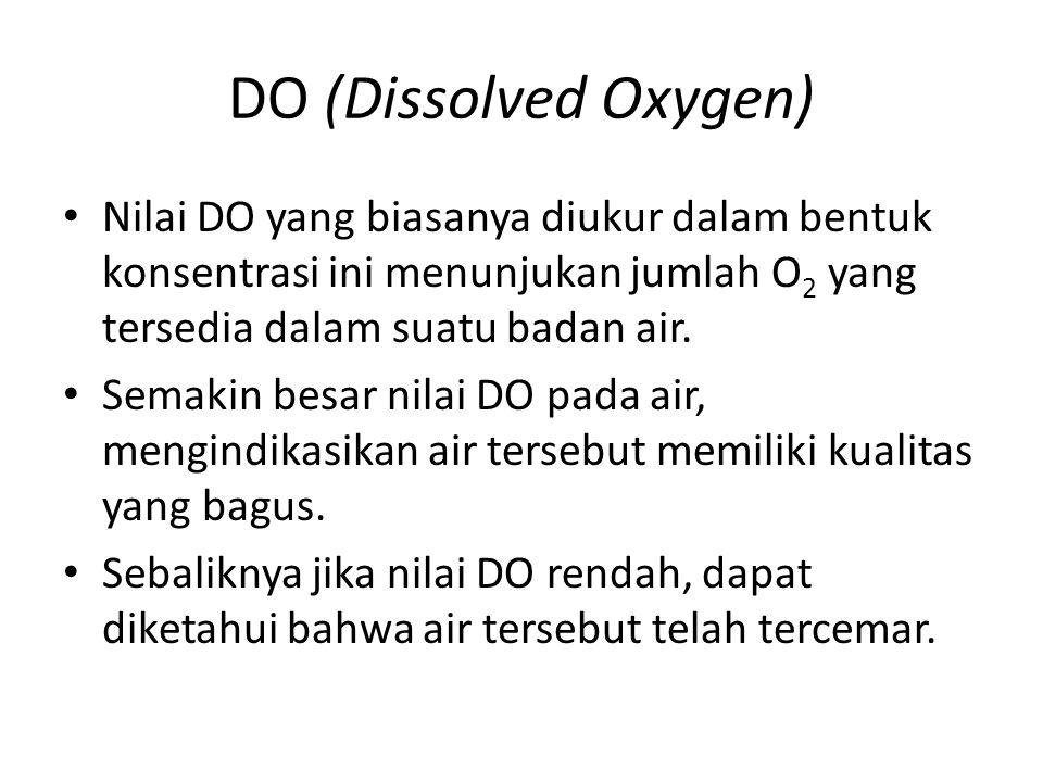 DO (Dissolved Oxygen) Agar ikan dapat hidup, air harus mengandung oksigen paling sedikit 5 mg/ liter atau 5 ppm.