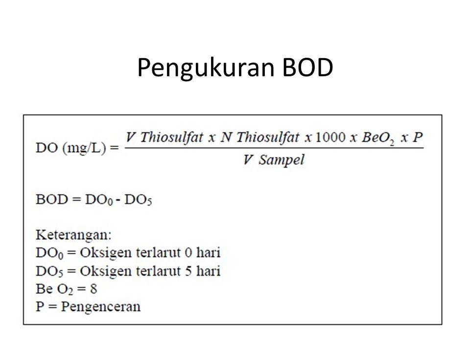 COD (Chemical Oxygent Demand) COD adalah jumlah oksigen (mg O 2 ) yang dibutuhkan untuk mengoksidasi zat-zat organis yang ada dalam 1 liter sampel air.