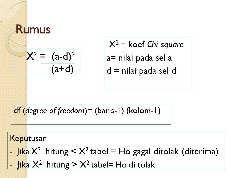 Rumus X 2 = (a-d) 2 (a+d) df (degree of freedom)= (baris-1) (kolom-1) X 2 = koef Chi square a= nilai pada sel a d = nilai pada sel d Keputusan - Jika X 2 hitung < X 2 tabel = Ho gagal ditolak (diterima) - Jika X 2 hitung > X 2 tabel= Ho di tolak
