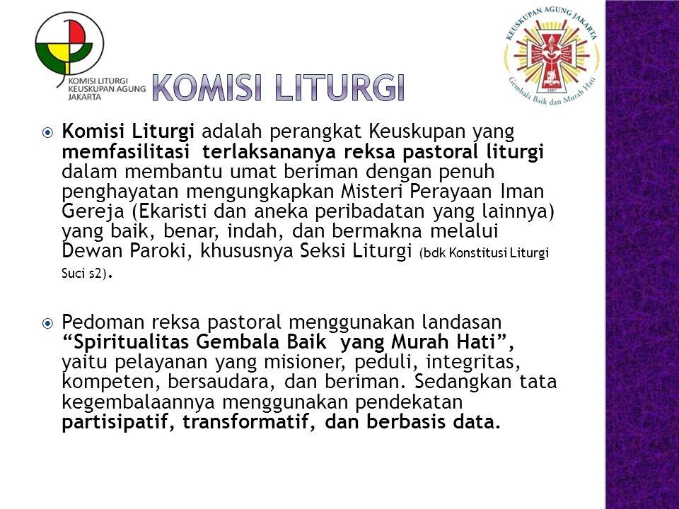  Komisi Liturgi adalah perangkat Keuskupan yang memfasilitasi terlaksananya reksa pastoral liturgi dalam membantu umat beriman dengan penuh penghayat