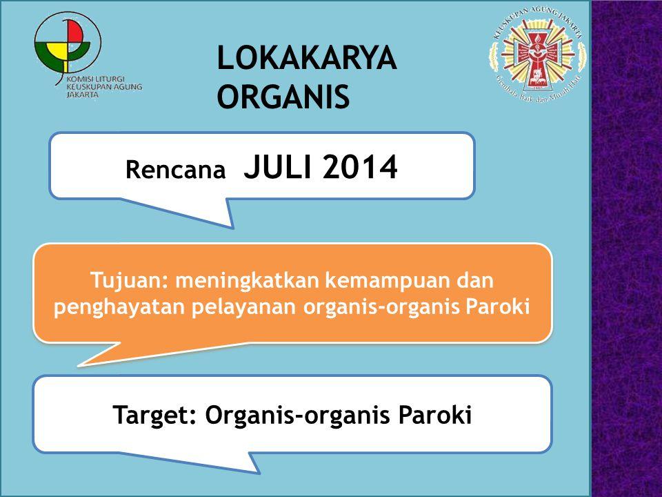 LOKAKARYA ORGANIS Rencana: JULI 2014 Tujuan: meningkatkan kemampuan dan penghayatan pelayanan organis-organis Paroki Target: Organis-organis Paroki