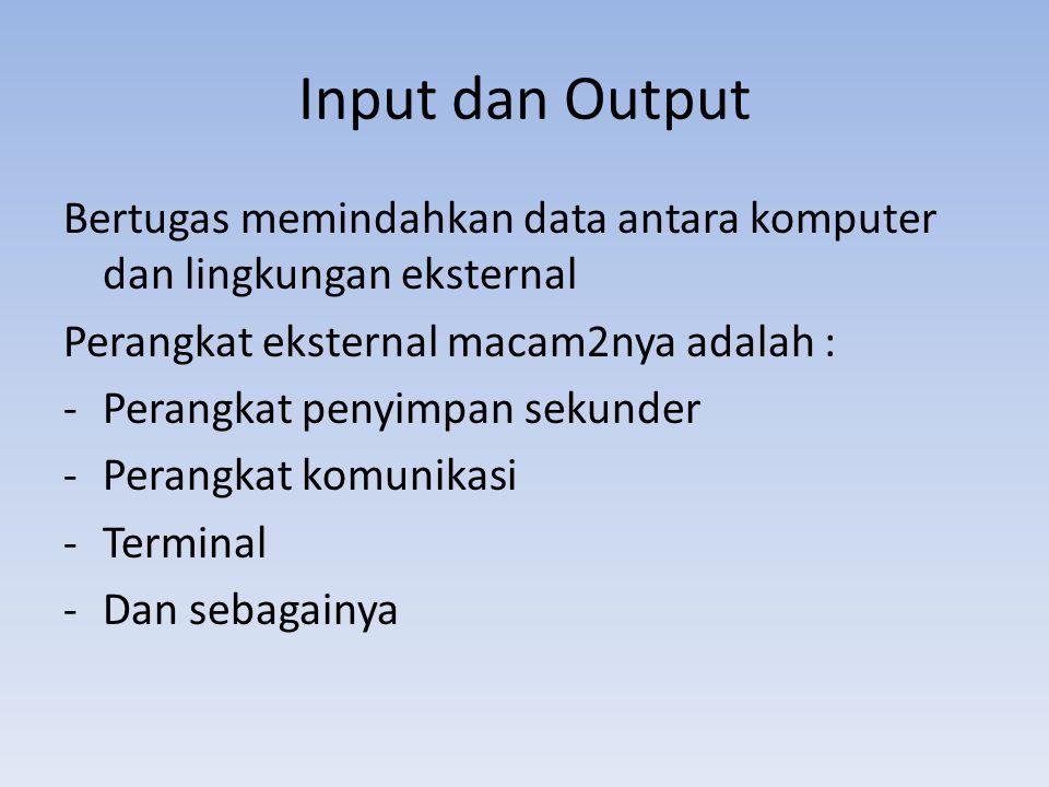 Input dan Output Bertugas memindahkan data antara komputer dan lingkungan eksternal Perangkat eksternal macam2nya adalah : -Perangkat penyimpan sekund