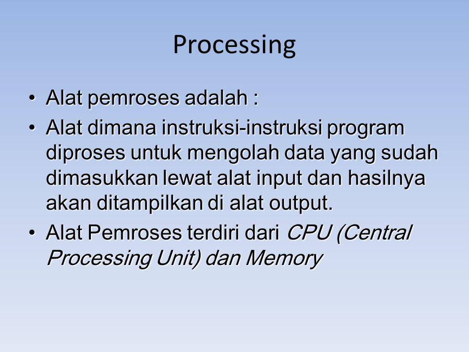 Processing Alat pemroses adalah : Alat pemroses adalah : Alat dimana instruksi-instruksi program diproses untuk mengolah data yang sudah dimasukkan le