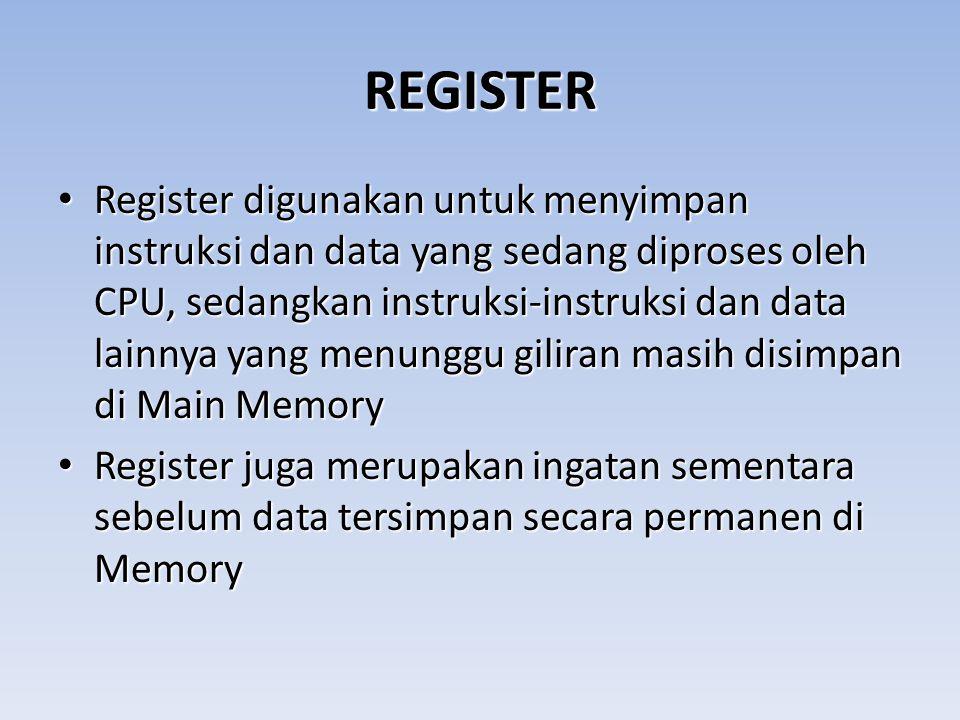 REGISTER Register digunakan untuk menyimpan instruksi dan data yang sedang diproses oleh CPU, sedangkan instruksi-instruksi dan data lainnya yang menu