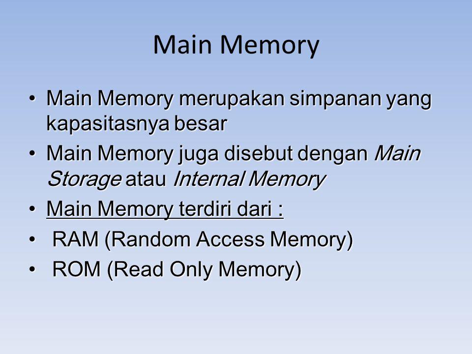 Main Memory Main Memory merupakan simpanan yang kapasitasnya besar Main Memory merupakan simpanan yang kapasitasnya besar Main Memory juga disebut den