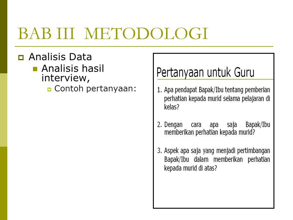 BAB III METODOLOGI  Analisis Data Analisis hasil interview,  Contoh pertanyaan: