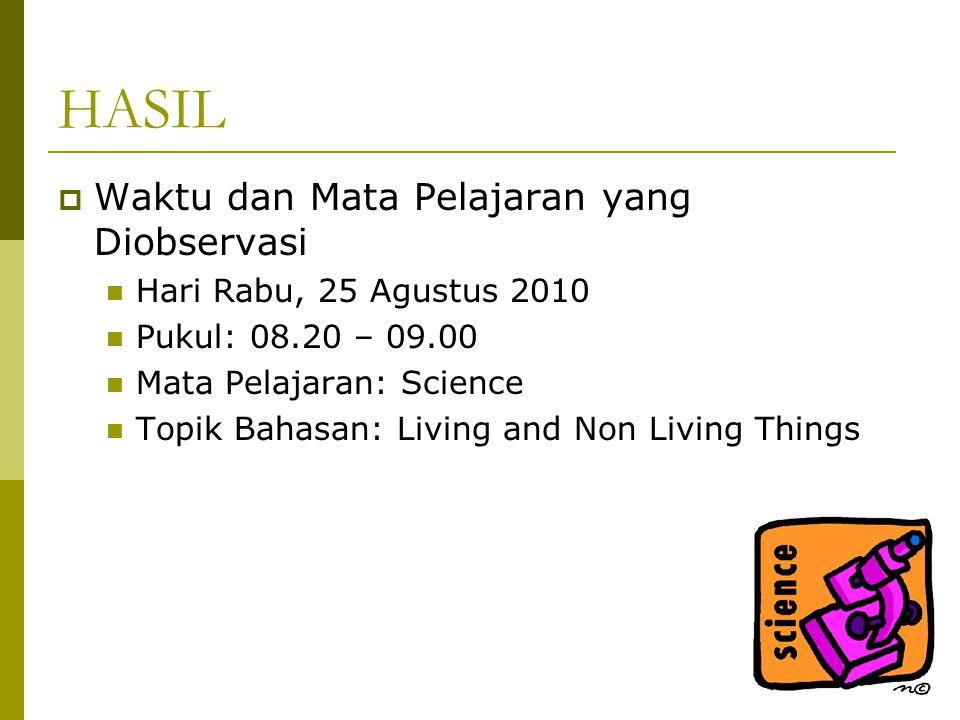 HASIL  Waktu dan Mata Pelajaran yang Diobservasi Hari Rabu, 25 Agustus 2010 Pukul: 08.20 – 09.00 Mata Pelajaran: Science Topik Bahasan: Living and Non Living Things