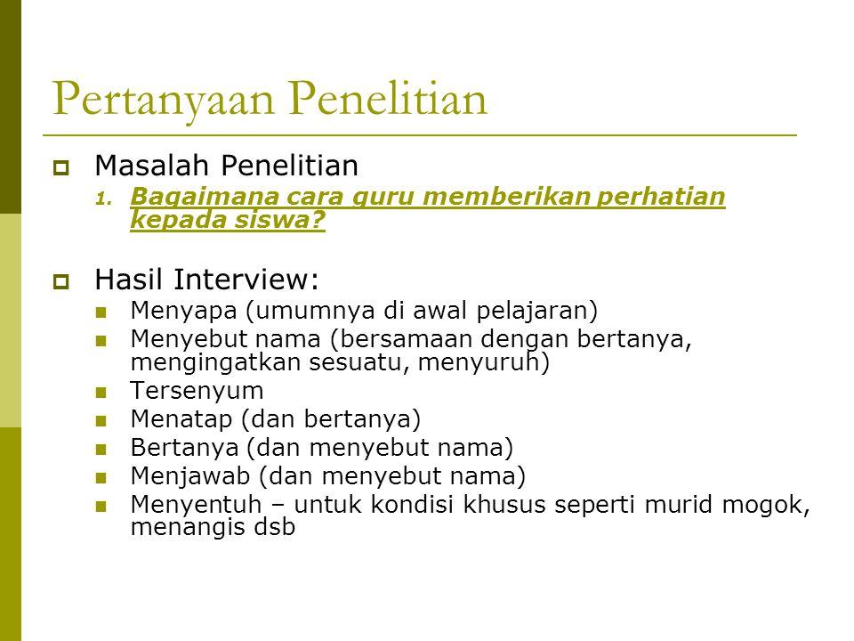Pertanyaan Penelitian  Masalah Penelitian 1.