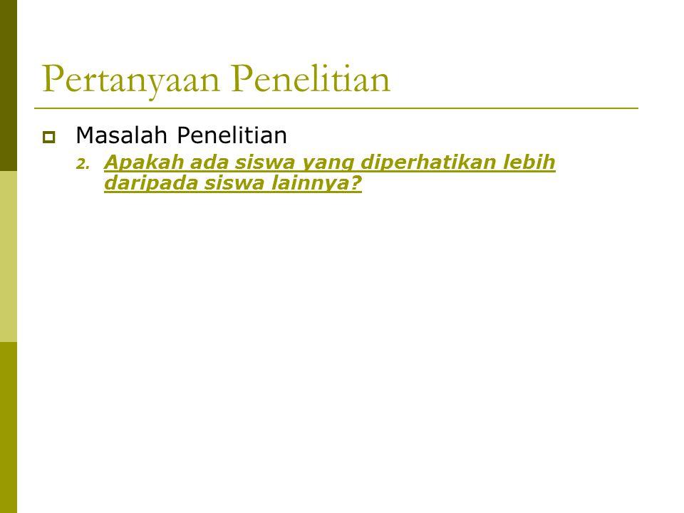 Pertanyaan Penelitian  Masalah Penelitian 2.