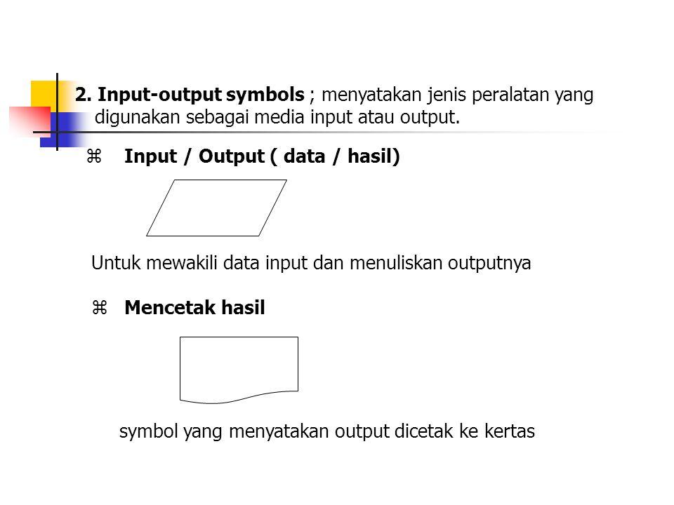 2. Input-output symbols ; menyatakan jenis peralatan yang digunakan sebagai media input atau output.  Input / Output ( data / hasil) Untuk mewakili d