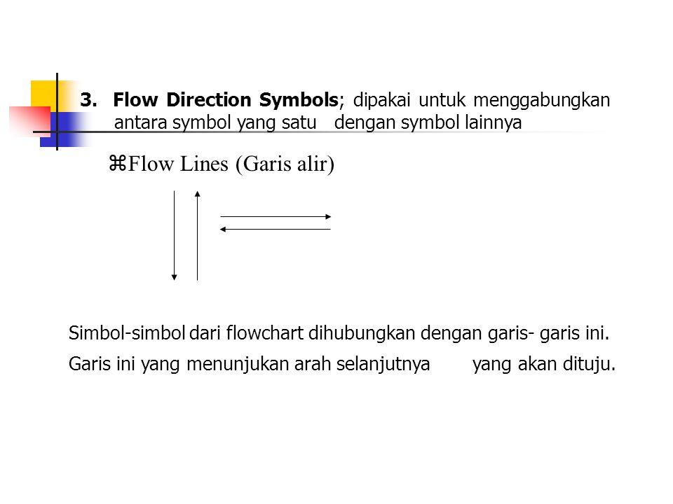 3. Flow Direction Symbols; dipakai untuk menggabungkan antara symbol yang satu dengan symbol lainnya  Flow Lines (Garis alir) Simbol-simbol dari flow