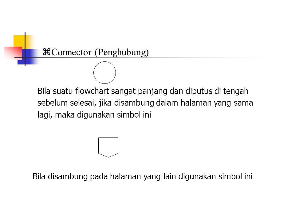  Connector (Penghubung) Bila suatu flowchart sangat panjang dan diputus di tengah sebelum selesai, jika disambung dalam halaman yang sama lagi, maka digunakan simbol ini Bila disambung pada halaman yang lain digunakan simbol ini
