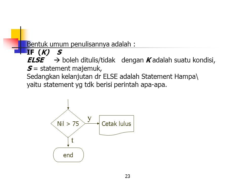 23 Bentuk umum penulisannya adalah : IF (K) S ELSE  boleh ditulis/tidak dengan K adalah suatu kondisi, S = statement majemuk, Sedangkan kelanjutan dr