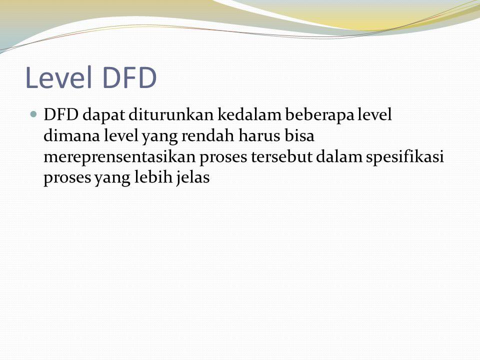 Level DFD DFD dapat diturunkan kedalam beberapa level dimana level yang rendah harus bisa mereprensentasikan proses tersebut dalam spesifikasi proses