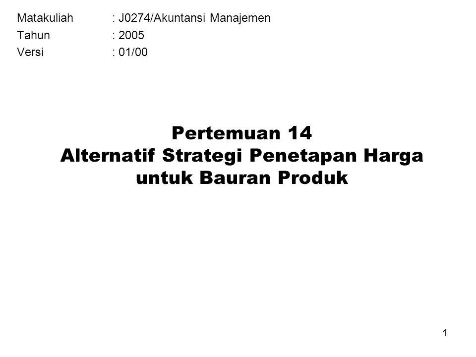 1 Pertemuan 14 Alternatif Strategi Penetapan Harga untuk Bauran Produk Matakuliah: J0274/Akuntansi Manajemen Tahun: 2005 Versi: 01/00