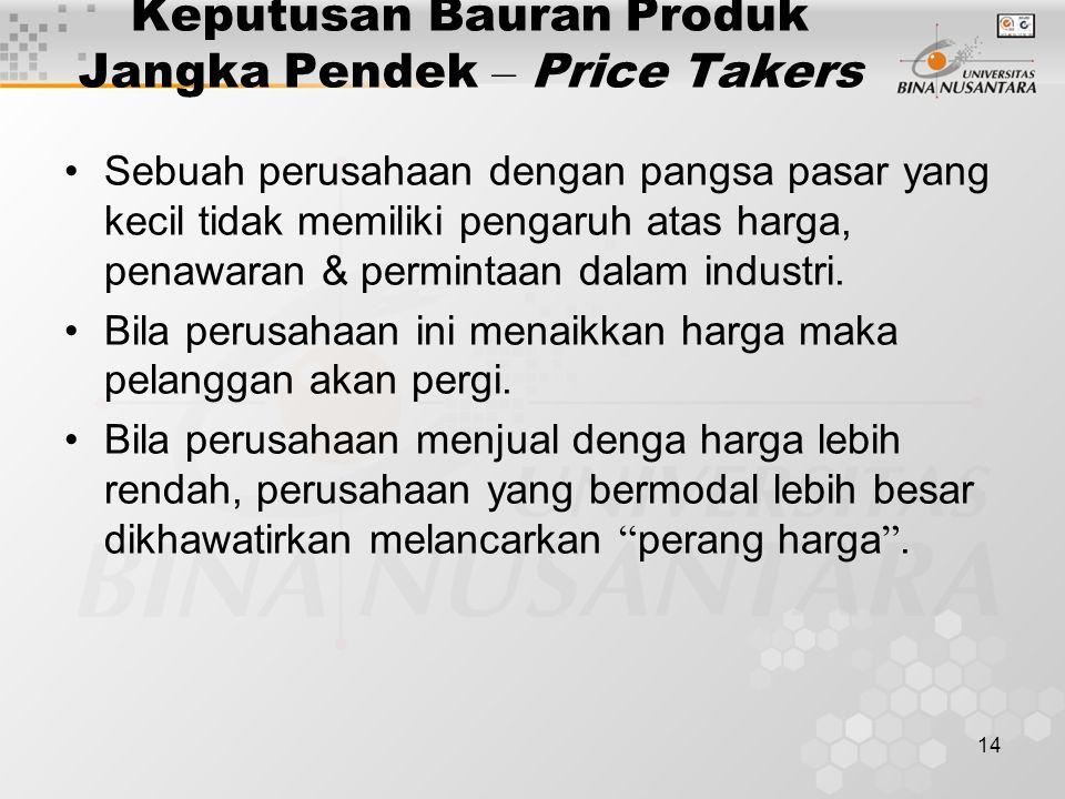 14 Keputusan Bauran Produk Jangka Pendek – Price Takers Sebuah perusahaan dengan pangsa pasar yang kecil tidak memiliki pengaruh atas harga, penawaran