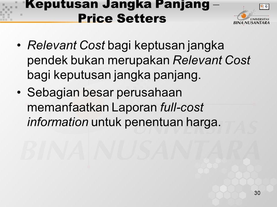30 Keputusan Jangka Panjang – Price Setters Relevant Cost bagi keptusan jangka pendek bukan merupakan Relevant Cost bagi keputusan jangka panjang. Seb