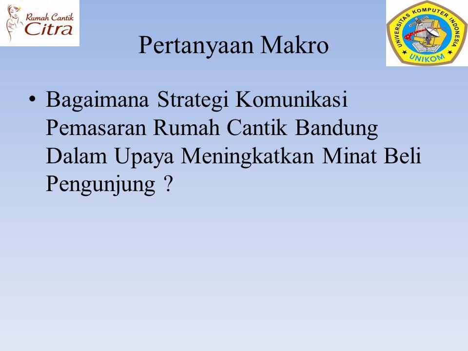 Pertanyaan Makro Bagaimana Strategi Komunikasi Pemasaran Rumah Cantik Bandung Dalam Upaya Meningkatkan Minat Beli Pengunjung ?
