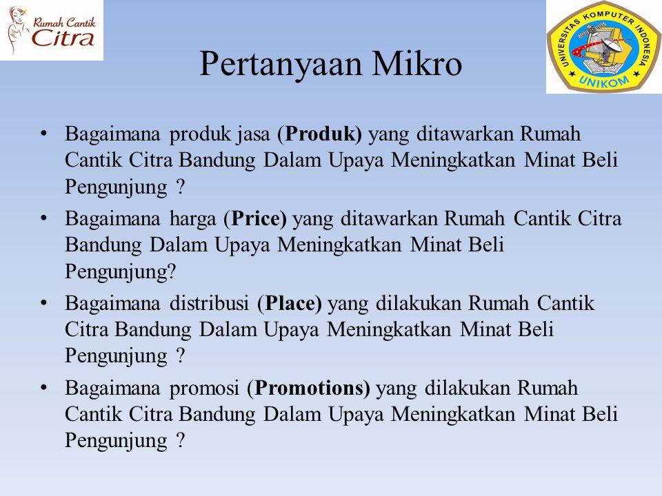 Pertanyaan Mikro Bagaimana produk jasa (Produk) yang ditawarkan Rumah Cantik Citra Bandung Dalam Upaya Meningkatkan Minat Beli Pengunjung ? Bagaimana