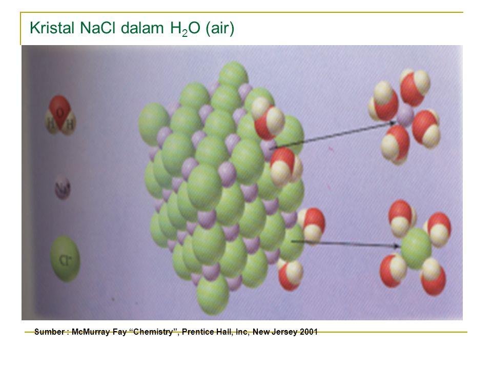 Kristal NaCl dalam H 2 O (air) Sumber : McMurray Fay Chemistry , Prentice Hall, Inc, New Jersey 2001