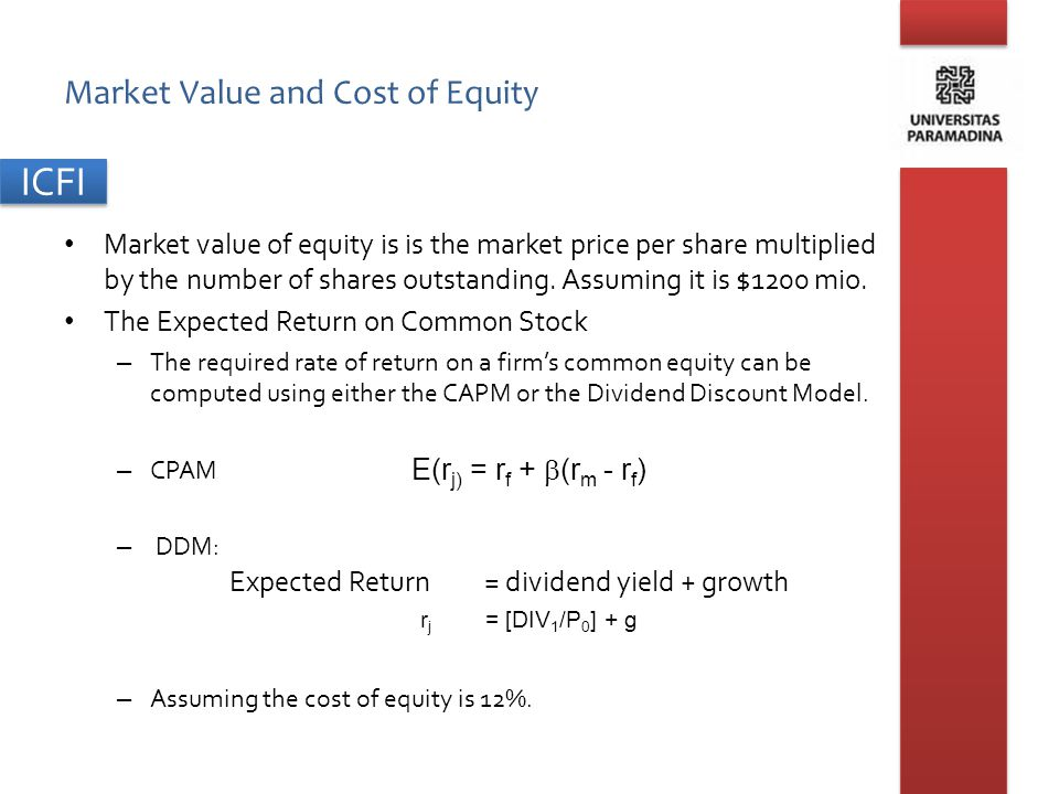 ICFI Market Value and Cost of Equity Market value of equity is is the market price per share multiplied by the number of shares outstanding. Assuming