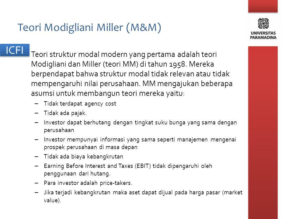 Teori Modigliani Miller (M&M) Teori struktur modal modern yang pertama adalah teori Modigliani dan Miller (teori MM) di tahun 1958. Mereka berpendapat