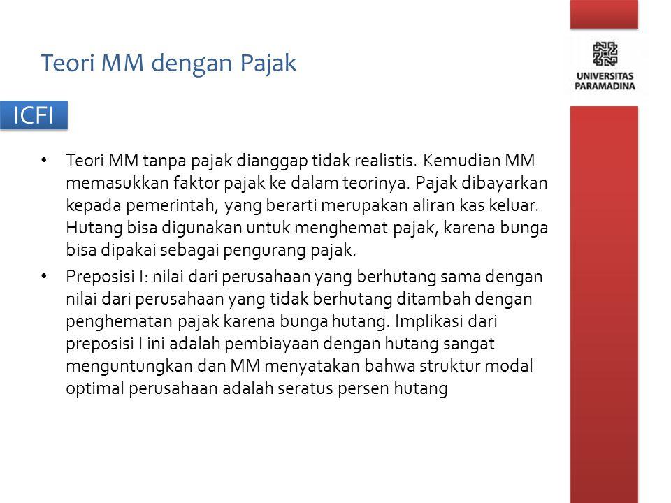 ICFI Teori MM dengan Pajak Teori MM tanpa pajak dianggap tidak realistis. Kemudian MM memasukkan faktor pajak ke dalam teorinya. Pajak dibayarkan kepa
