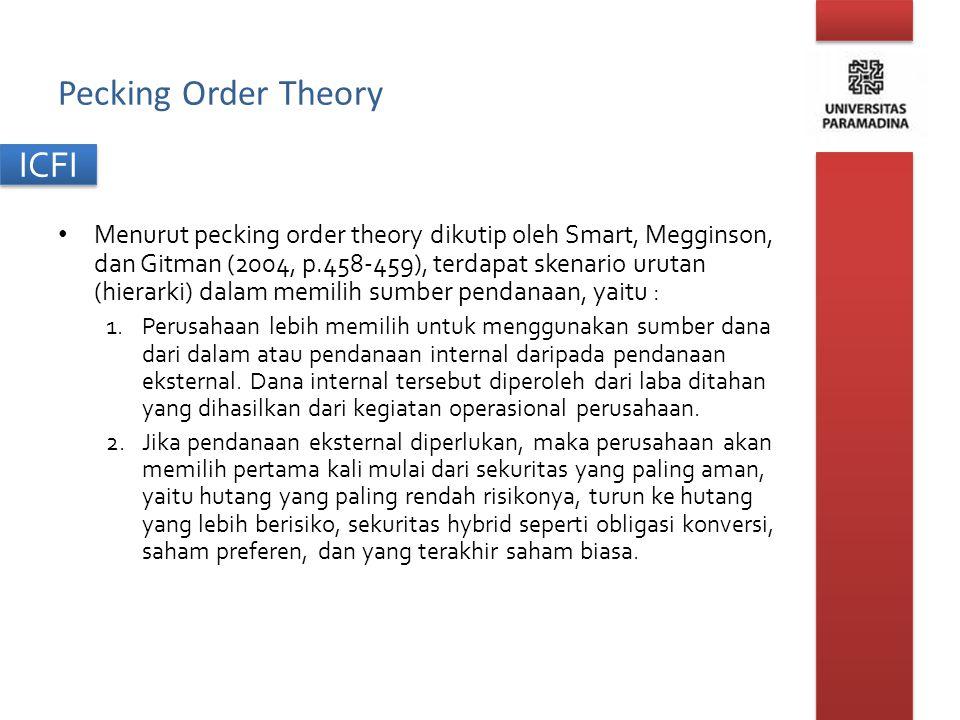 ICFI Pecking Order Theory Menurut pecking order theory dikutip oleh Smart, Megginson, dan Gitman (2004, p.458-459), terdapat skenario urutan (hierarki