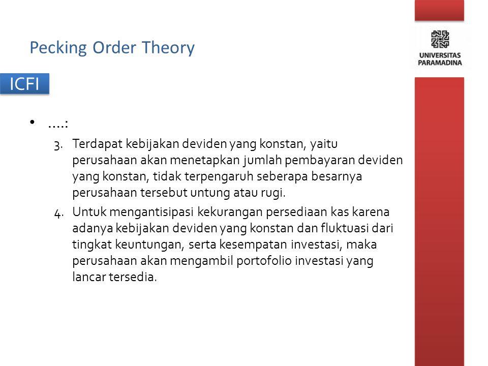 ICFI Pecking Order Theory ….: 3.Terdapat kebijakan deviden yang konstan, yaitu perusahaan akan menetapkan jumlah pembayaran deviden yang konstan, tida