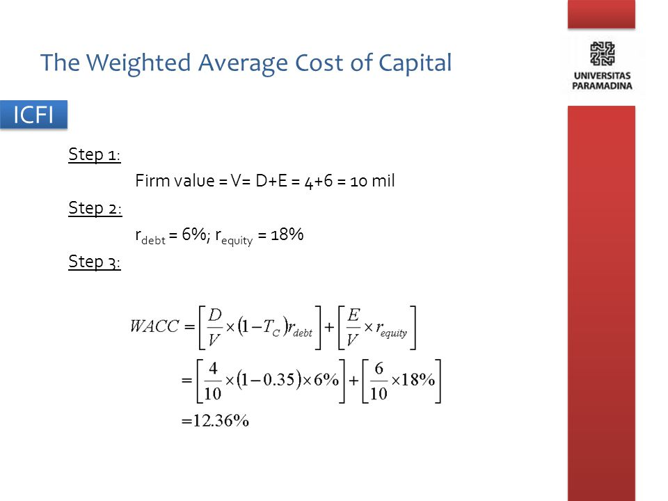 ICFI Measuring Capital Structure Calculating Market Values – The market value of a company's bonds is the PV of all coupons and par value discounted at the benchmark rate.