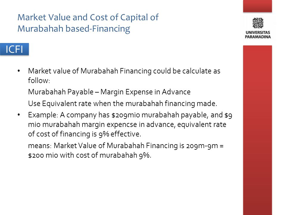 ICFI Market Value and Cost of Capital of Murabahah based-Financing Market value of Murabahah Financing could be calculate as follow: Murabahah Payable