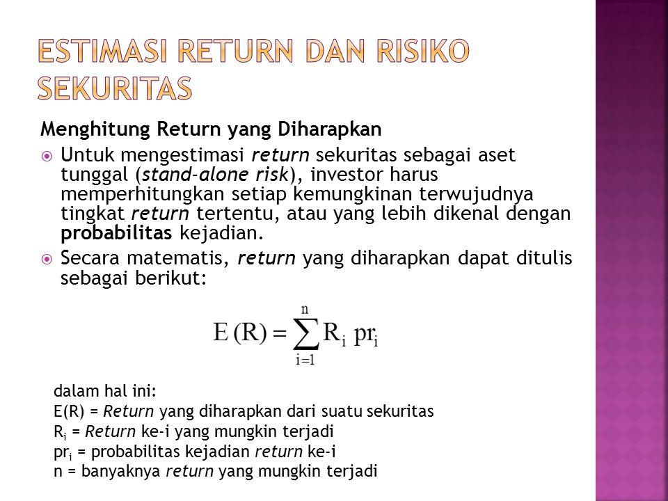 Menghitung Return yang Diharapkan  Untuk mengestimasi return sekuritas sebagai aset tunggal (stand-alone risk), investor harus memperhitungkan setiap kemungkinan terwujudnya tingkat return tertentu, atau yang lebih dikenal dengan probabilitas kejadian.