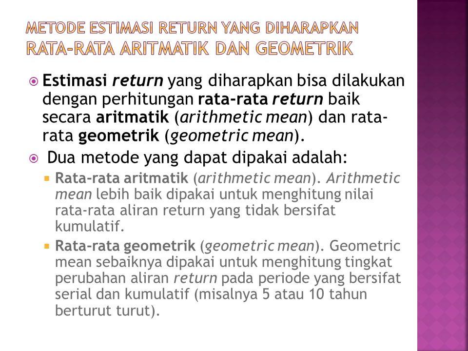  Estimasi return yang diharapkan bisa dilakukan dengan perhitungan rata-rata return baik secara aritmatik (arithmetic mean) dan rata- rata geometrik (geometric mean).