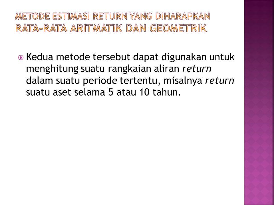  Kedua metode tersebut dapat digunakan untuk menghitung suatu rangkaian aliran return dalam suatu periode tertentu, misalnya return suatu aset selama