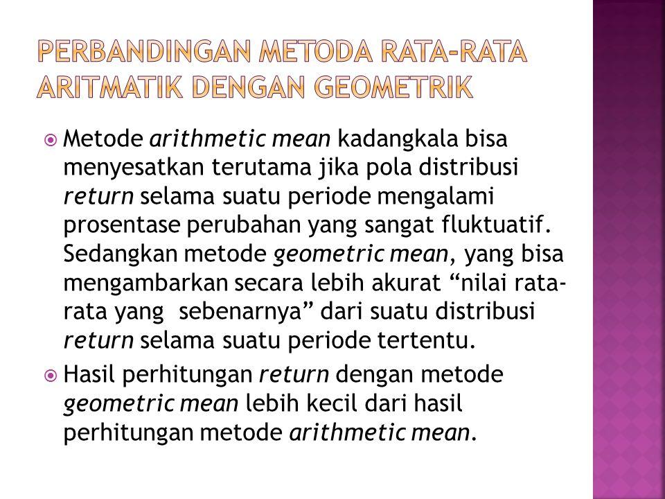  Metode arithmetic mean kadangkala bisa menyesatkan terutama jika pola distribusi return selama suatu periode mengalami prosentase perubahan yang sangat fluktuatif.