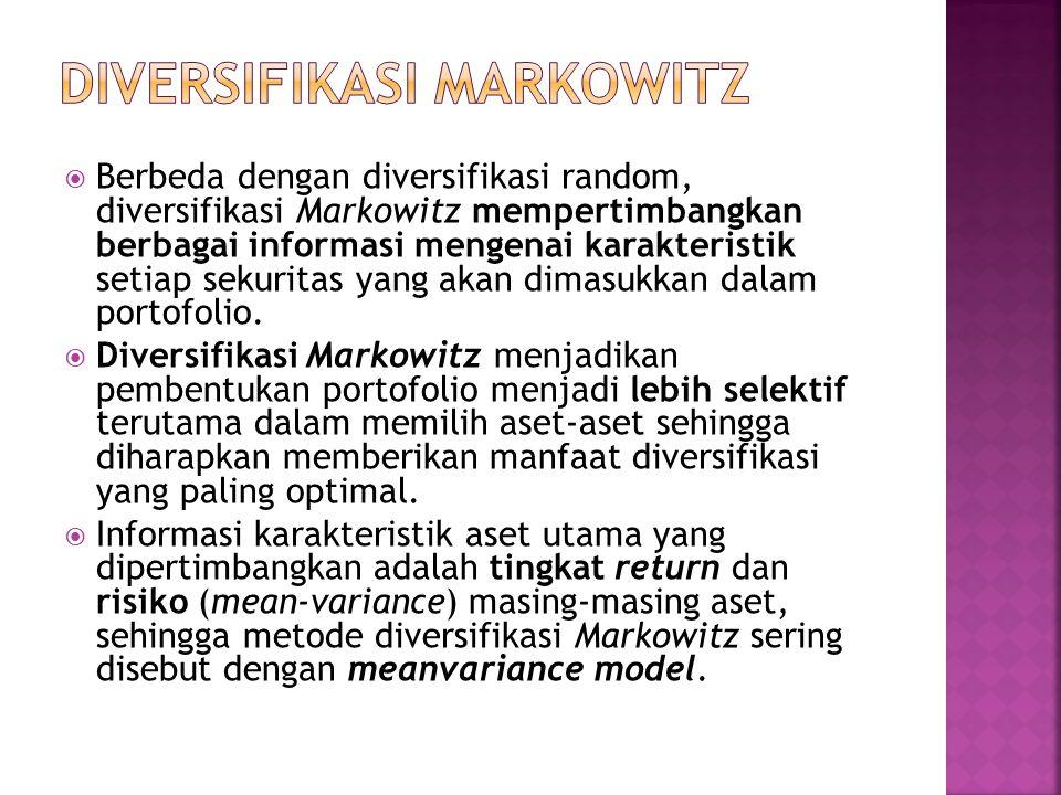  Berbeda dengan diversifikasi random, diversifikasi Markowitz mempertimbangkan berbagai informasi mengenai karakteristik setiap sekuritas yang akan dimasukkan dalam portofolio.