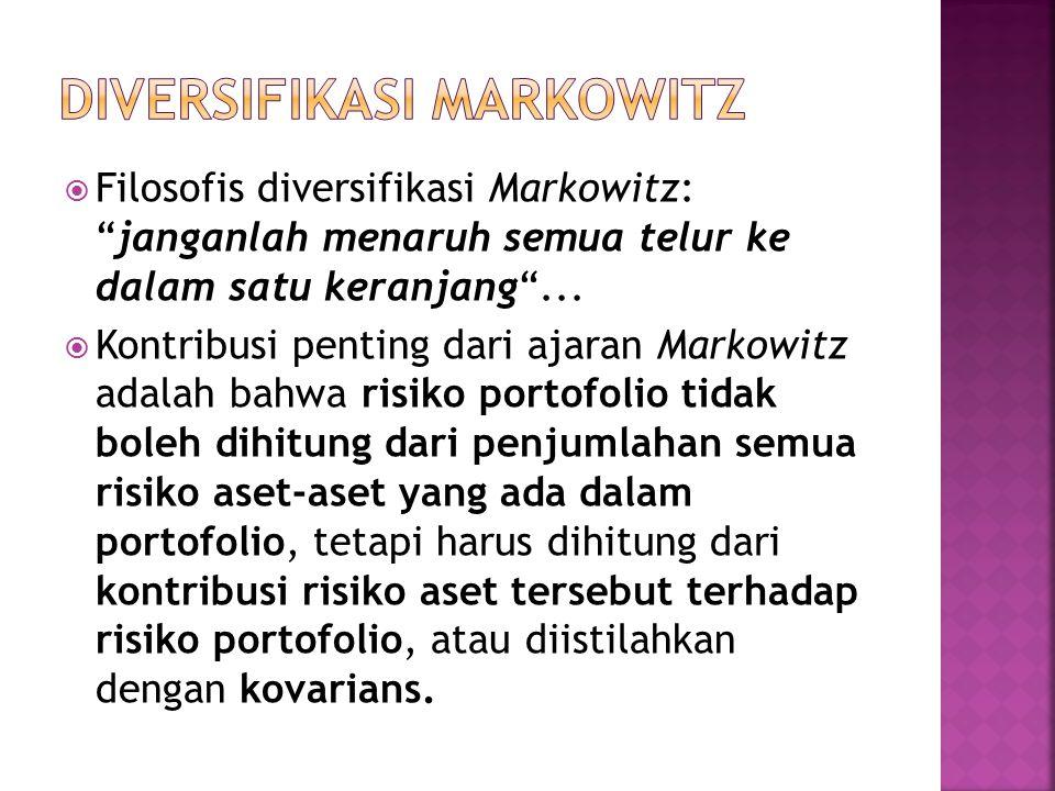 """ Filosofis diversifikasi Markowitz: """"janganlah menaruh semua telur ke dalam satu keranjang""""...  Kontribusi penting dari ajaran Markowitz adalah bahw"""