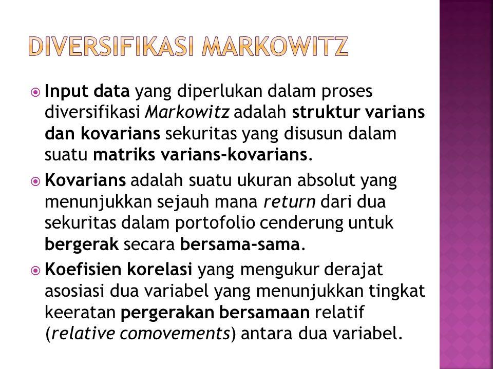  Input data yang diperlukan dalam proses diversifikasi Markowitz adalah struktur varians dan kovarians sekuritas yang disusun dalam suatu matriks varians-kovarians.
