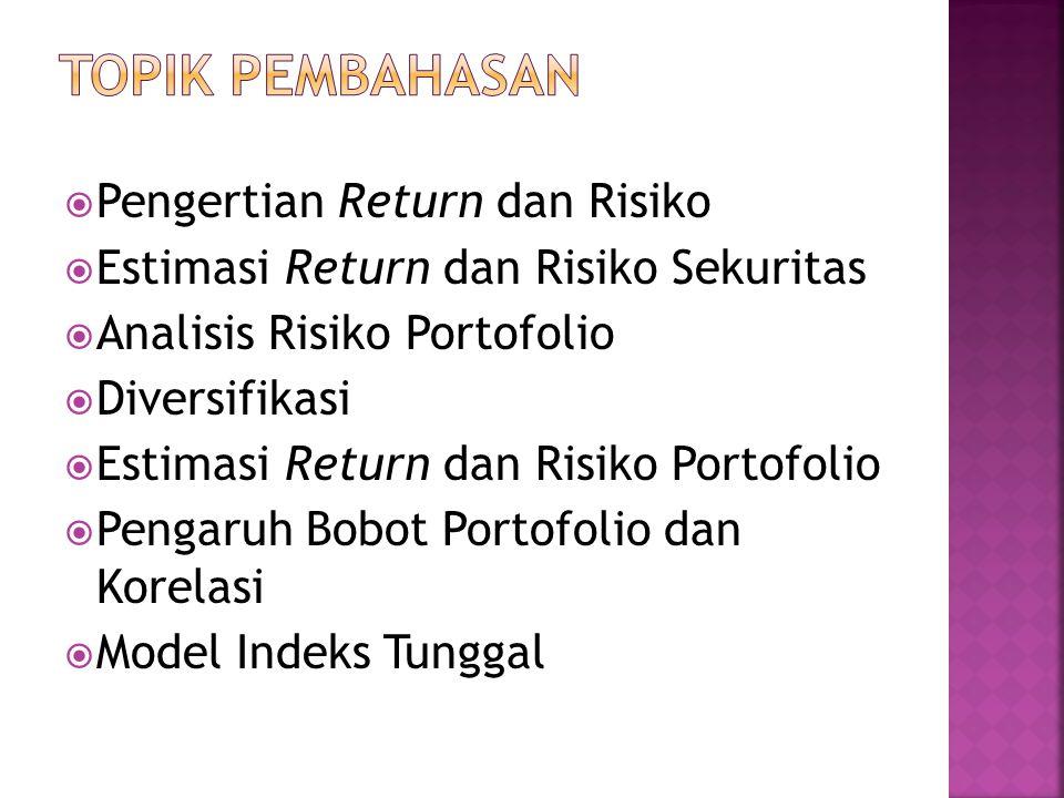  Pengertian Return dan Risiko  Estimasi Return dan Risiko Sekuritas  Analisis Risiko Portofolio  Diversifikasi  Estimasi Return dan Risiko Portofolio  Pengaruh Bobot Portofolio dan Korelasi  Model Indeks Tunggal