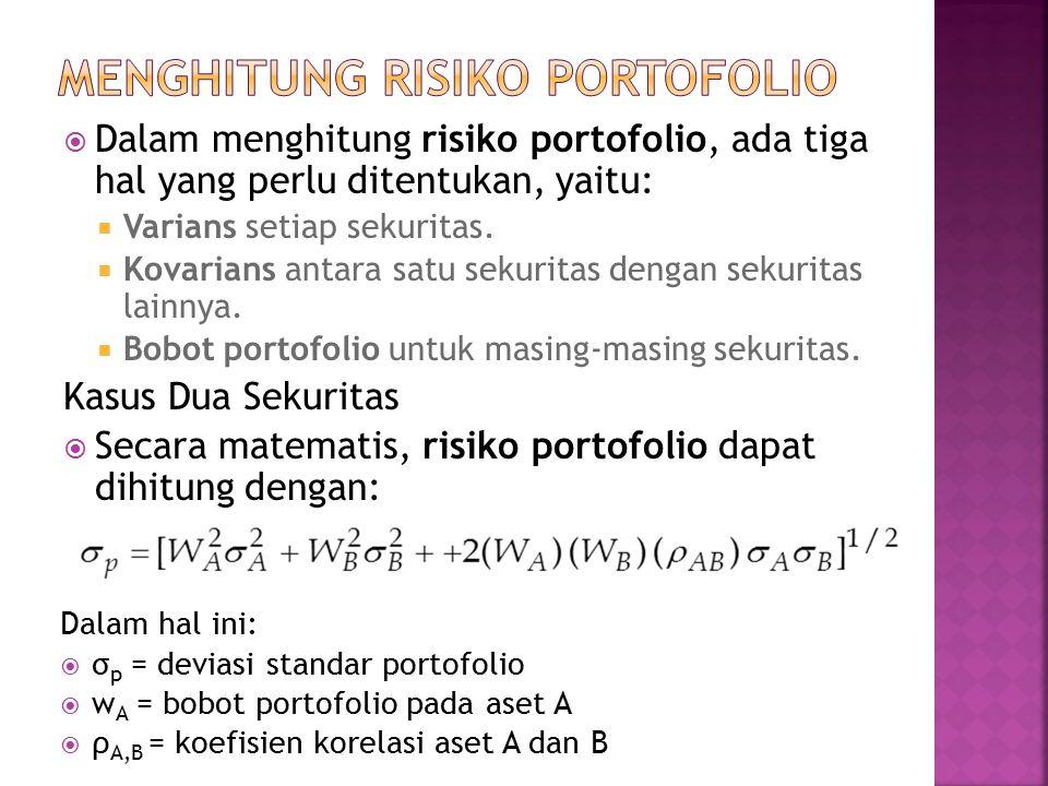  Dalam menghitung risiko portofolio, ada tiga hal yang perlu ditentukan, yaitu:  Varians setiap sekuritas.  Kovarians antara satu sekuritas dengan