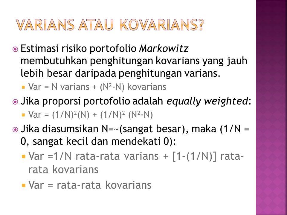  Estimasi risiko portofolio Markowitz membutuhkan penghitungan kovarians yang jauh lebih besar daripada penghitungan varians.  Var = N varians + (N