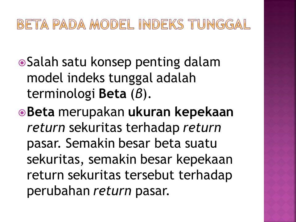  Salah satu konsep penting dalam model indeks tunggal adalah terminologi Beta (β).  Beta merupakan ukuran kepekaan return sekuritas terhadap return
